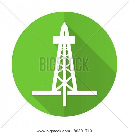 drilling green flat icon