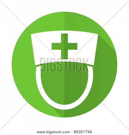 nurse green flat icon hospital sign