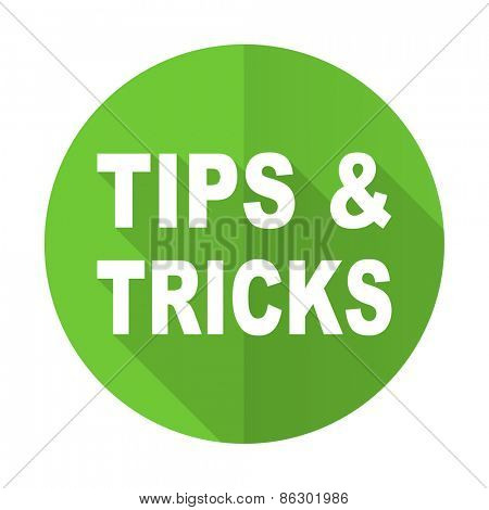 tips tricks green flat icon