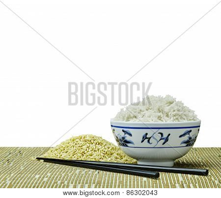 Natural Organic Raw And Cooked Natural Organic Rice