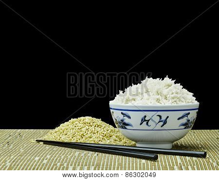 Natural Organic Raw And Cooked Organic Rice