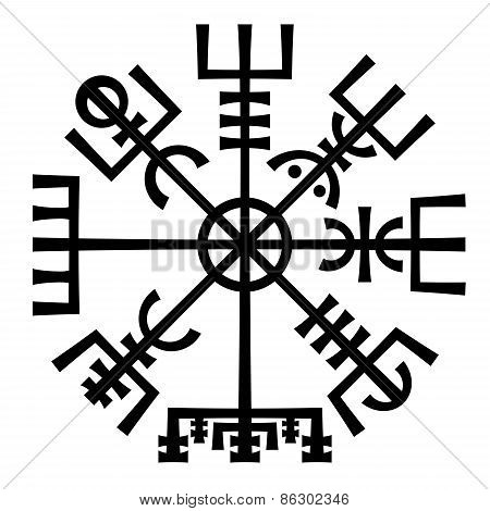 Vegvisir. The Magic Compass of Vikings. Runic Talisman.