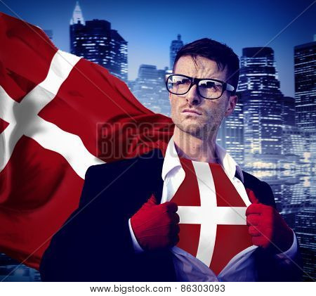 Businessman Superhero Country Denmark Flag Culture Power Concept