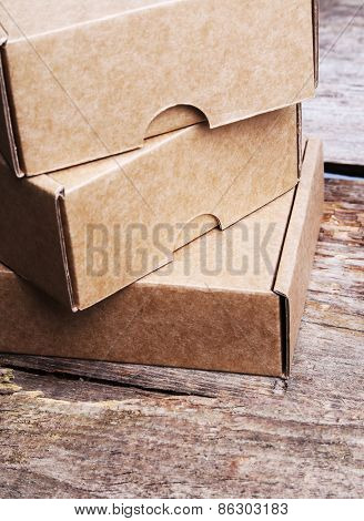 Carton boxes on the wooden table