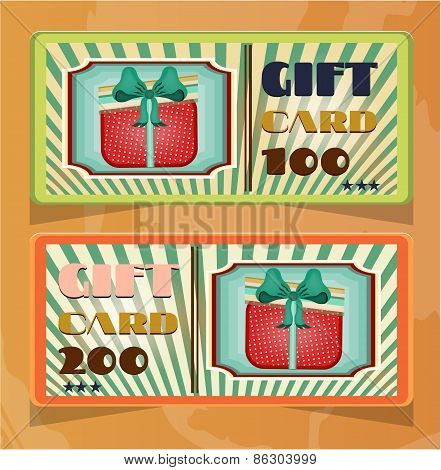 Set of two vintage, elegant, striped, green, orange gift card with dotted, red gift with bow, text,