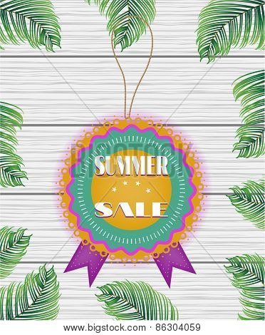 One beautiful, colorful, rounded sticker with text Summer Sale on white, wooden background with gree