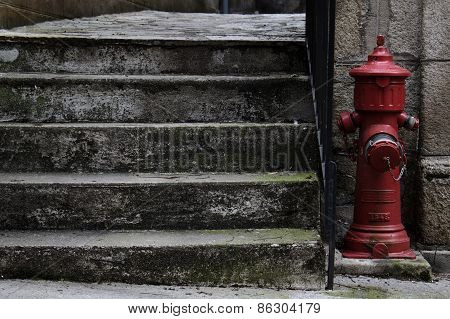 Fire Hydrant Beside Stairs