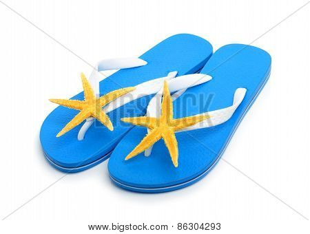 Blue Flip Flops With Starfishes