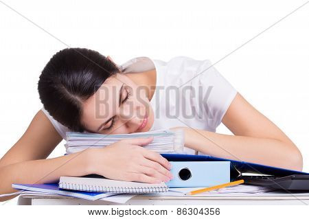 Beautiful Tired Business Woman Sleeping