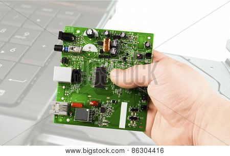 Electronic Microcircuit In Hand