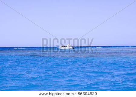 Ship On A Water Background