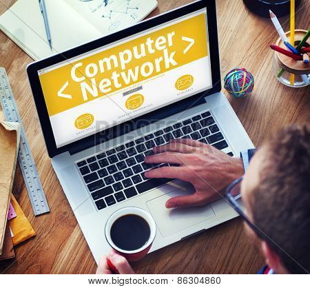 Digital Online Computer Network Connecting Office Working Concept