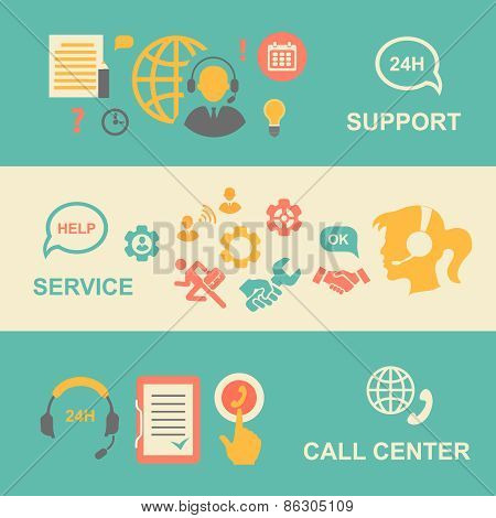 Call center  banners set with support and service    isolated vector illustration