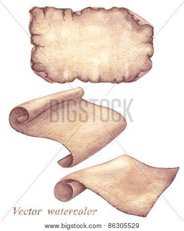 Watercolor Parchment Scrolls