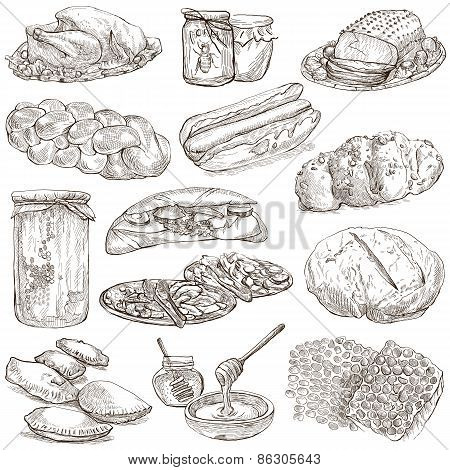 Food - Hand Drawn Pack. Original Sketches.