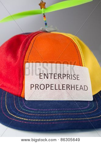 Colorful hat with propeller