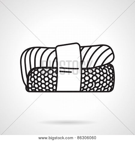 Black line vector icon for sushi