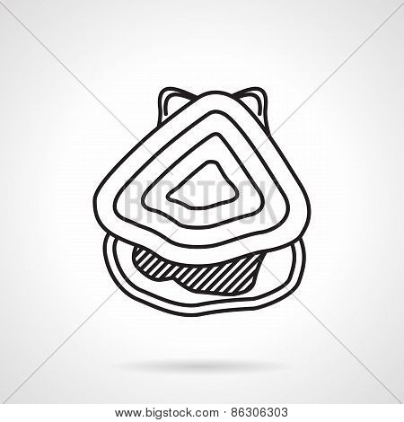 Oyster black line vector icon