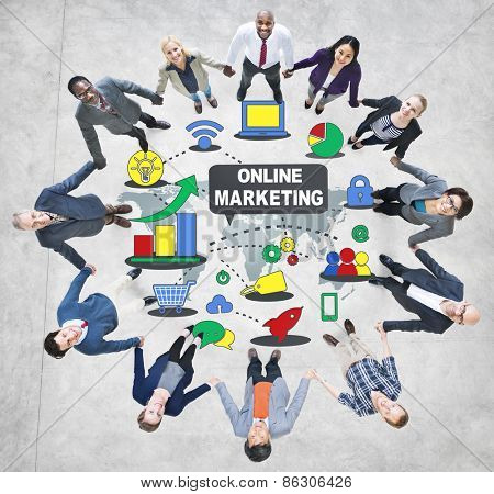 Online Marketing Strategy Teamwork Concept