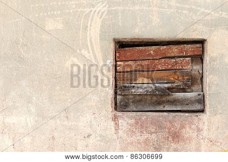 Window Culled Old Wooden Board On The Wall With Scratches And Cracks. Great Background Or Texture Fo