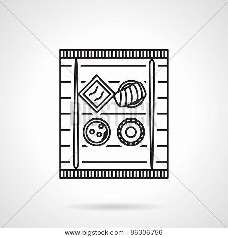 Sushi tray black line vector icon