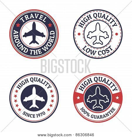 Set Of Vintage Style Flight Label. Vector Logo Design Template. Concept For Airplane Travel