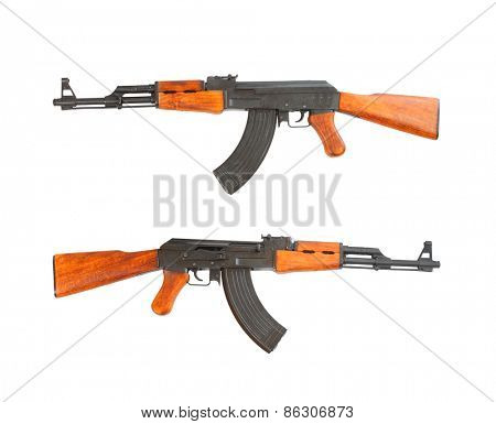 The assault rifle traditional weapon for terrorist isolated on a white background.