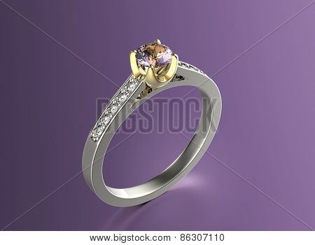 Golden Engagement Ring with Amethyst. Jewelry background