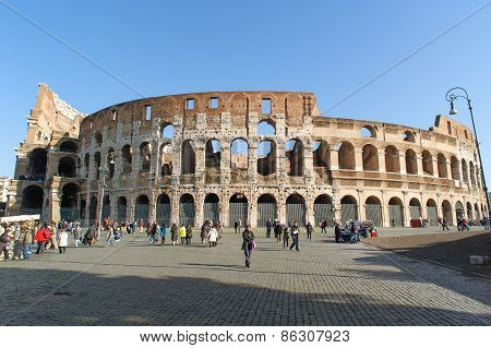 Rome, Italy - January 21, 2010: Whole View Of Colosseum