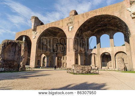 Rome, Italy - January 21, 2010: Basilica Of Maxentius