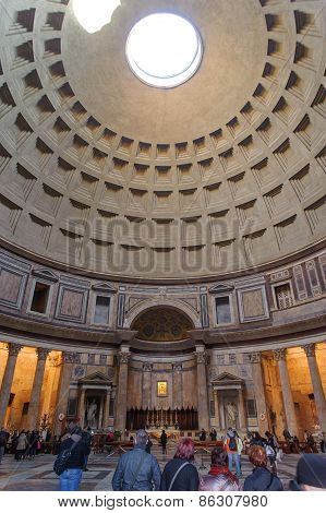Rome, Italy - January 27, 2010: Inner View Of Pantheon