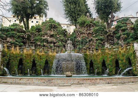 Tivoli, Italy - January 28, 2010: Fontana Dell'ovato