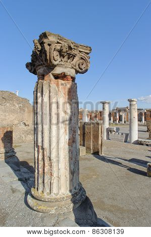 Naples, Italy - January 19, 2010: Pillar Of Basilica In Pompeii.