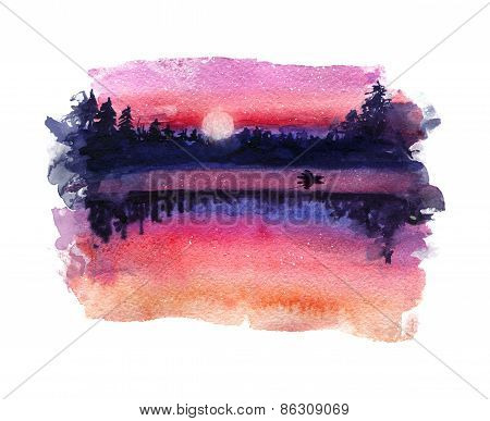Watercolor landscape. Sunset on the lake.