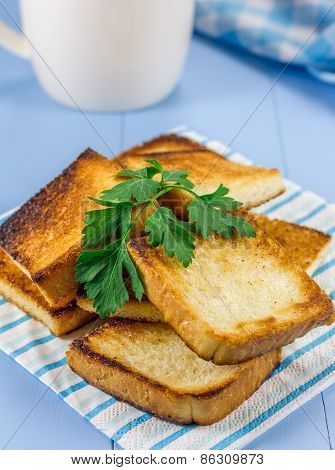 Toasts On Breakfast, Decorated With Parsley, And A Cup Of Coffee