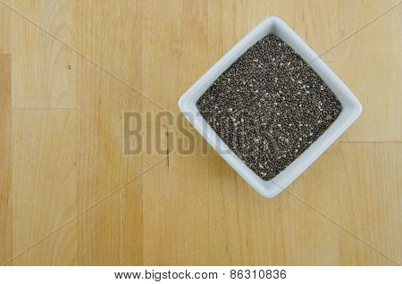 Bowl Of Chia Seeds With Copy Space
