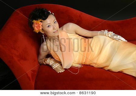 Beautiful Chinese girl in evening dress