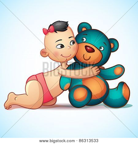 Asian baby girl with hugs Teddy Bear toy on a white background