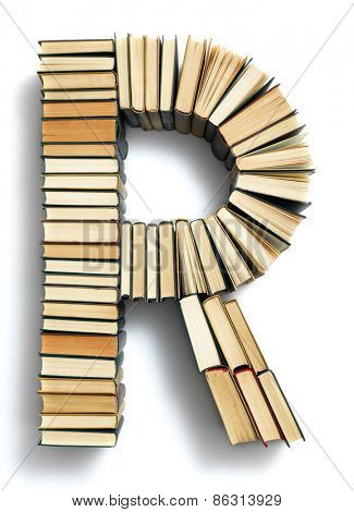 Letter R formed from the page ends of closed vintage hardcover books standing on a white background from a set or series of numbers