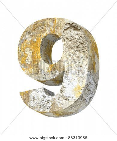 Number from old concrete alphabet set isolated over white. Computer generated 3D photo rendering.