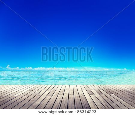 Wooden Plank Summer Seascape Concept