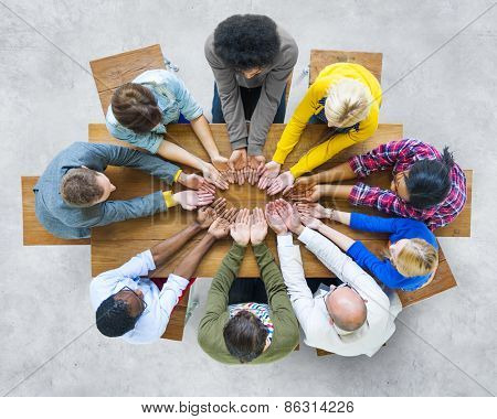 Group of Diverse People Hand Cupped