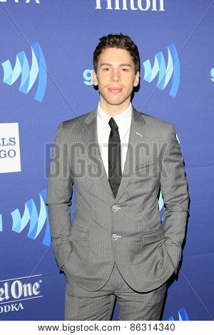 LOS ANGELES - MAR 21:  Jordan Gavaris at the 26th Annual GLAAD Media Awards at the Beverly Hilton Hotel on March 21, 2015 in Beverly Hills, CA