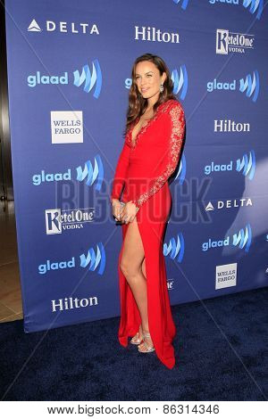 LOS ANGELES - MAR 21:  Jessica McNamee at the 26th Annual GLAAD Media Awards at the Beverly Hilton Hotel on March 21, 2015 in Beverly Hills, CA