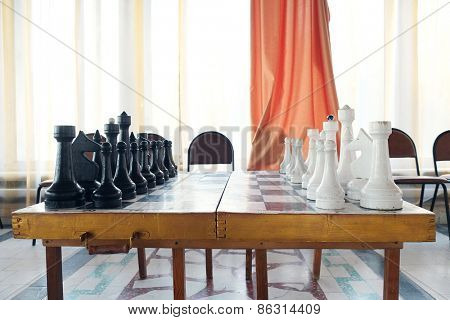 The image of chessboard with the chess