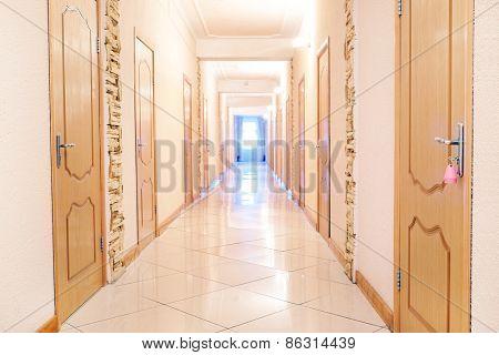 Empty corridor in a hotel