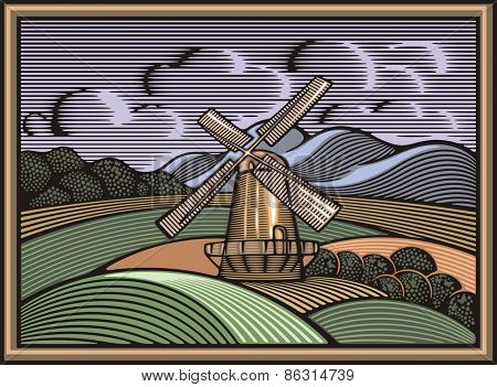 Vector illustration of a windmill, surrounded by fields and mountains, done in retro woodcut style. Organic farming and renewable energy.