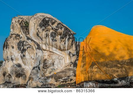 giant reclining buddha statue at Wat Lokayasutharam Ayutthaya Bangkok Thailand