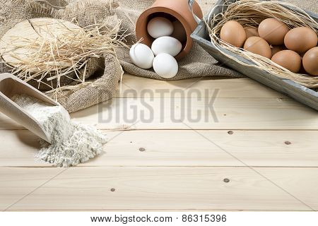 Eggs and Flour with Copy space