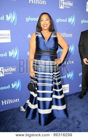 LOS ANGELES - MAR 21:  Shonda Rhimes at the 26th Annual GLAAD Media Awards at the Beverly Hilton Hotel on March 21, 2015 in Beverly Hills, CA